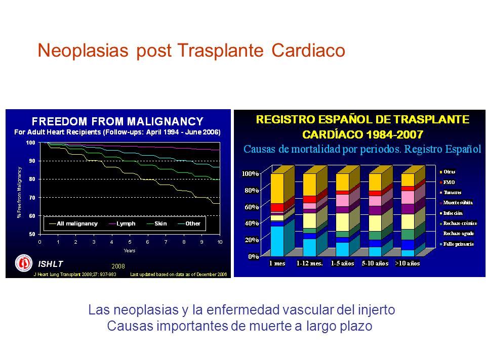 Neoplasias post Trasplante Cardiaco Las neoplasias y la enfermedad vascular del injerto Causas importantes de muerte a largo plazo