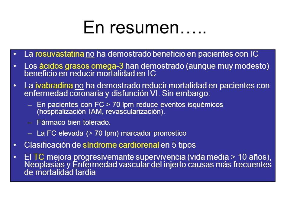 En resumen….. La rosuvastatina no ha demostrado beneficio en pacientes con IC Los ácidos grasos omega-3 han demostrado (aunque muy modesto) beneficio
