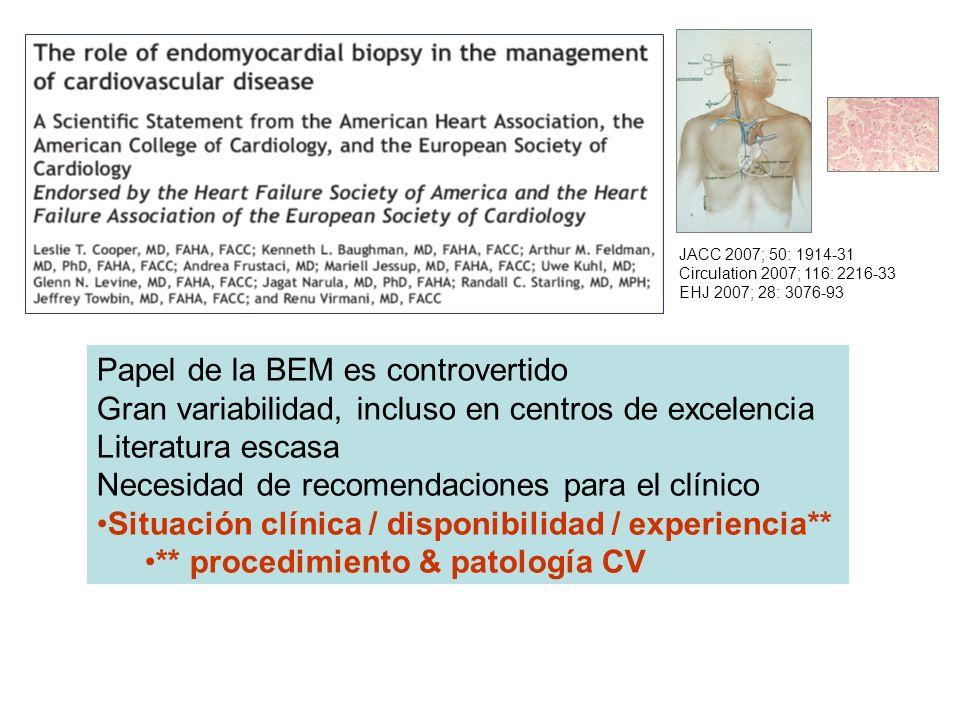 JACC 2007; 50: 1914-31 Circulation 2007; 116: 2216-33 EHJ 2007; 28: 3076-93 Papel de la BEM es controvertido Gran variabilidad, incluso en centros de