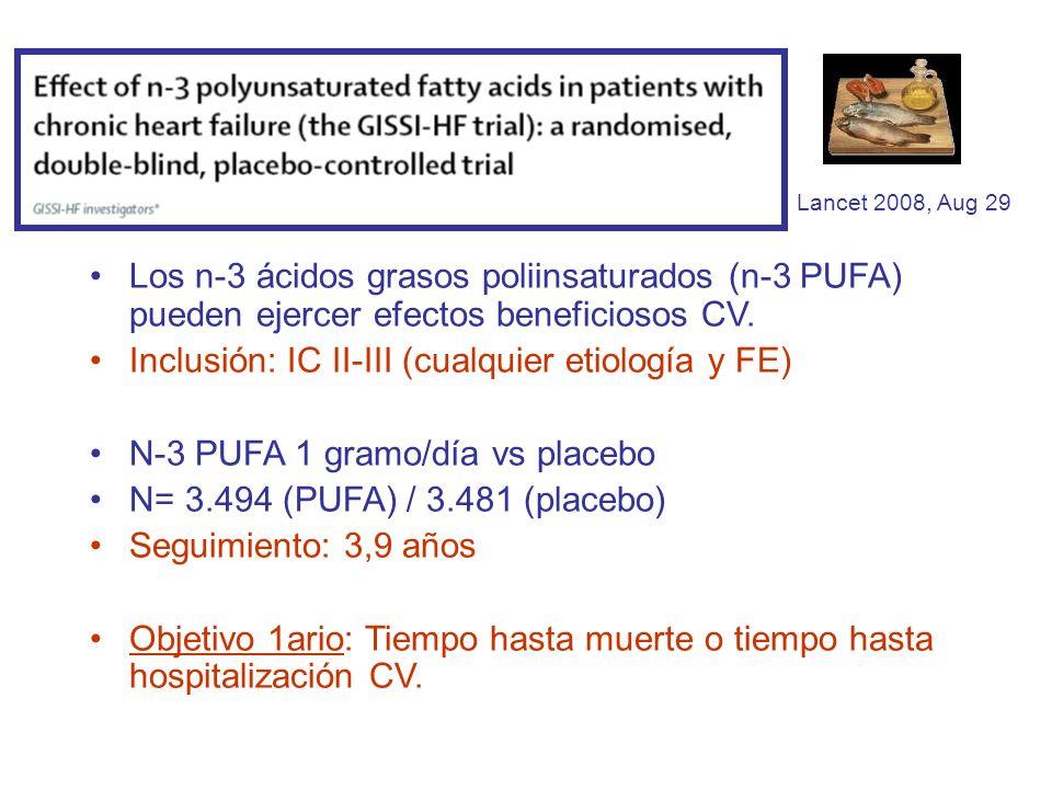 Lancet 2008, Aug 29 Los n-3 ácidos grasos poliinsaturados (n-3 PUFA) pueden ejercer efectos beneficiosos CV. Inclusión: IC II-III (cualquier etiología