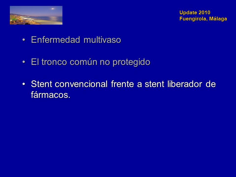 Update 2010 Fuengirola, Málaga Enfermedad multivasoEnfermedad multivaso El tronco común no protegidoEl tronco común no protegido Stent convencional frente a stent liberador de fármacos.Stent convencional frente a stent liberador de fármacos.