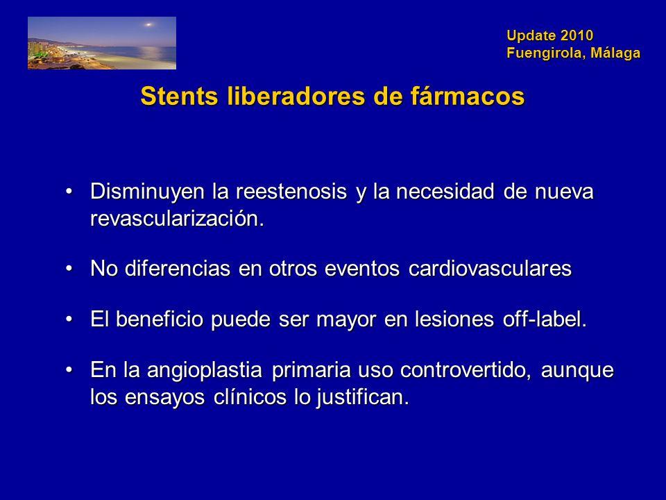 Update 2010 Fuengirola, Málaga Stents liberadores de fármacos Disminuyen la reestenosis y la necesidad de nueva revascularización.Disminuyen la reeste