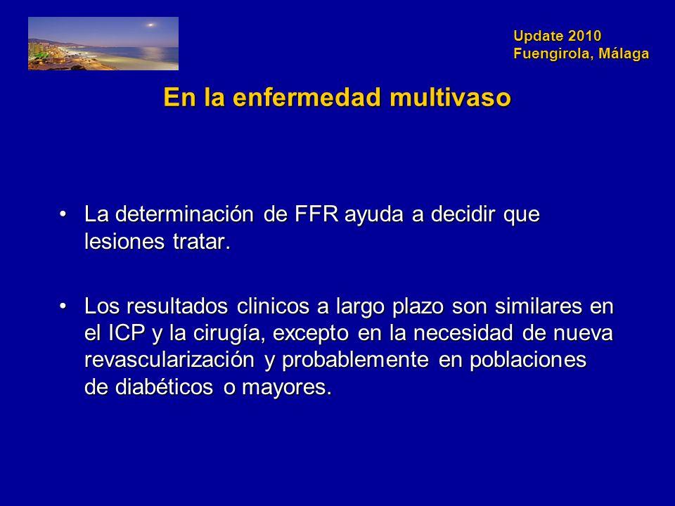 Update 2010 Fuengirola, Málaga En la enfermedad multivaso La determinación de FFR ayuda a decidir que lesiones tratar.La determinación de FFR ayuda a