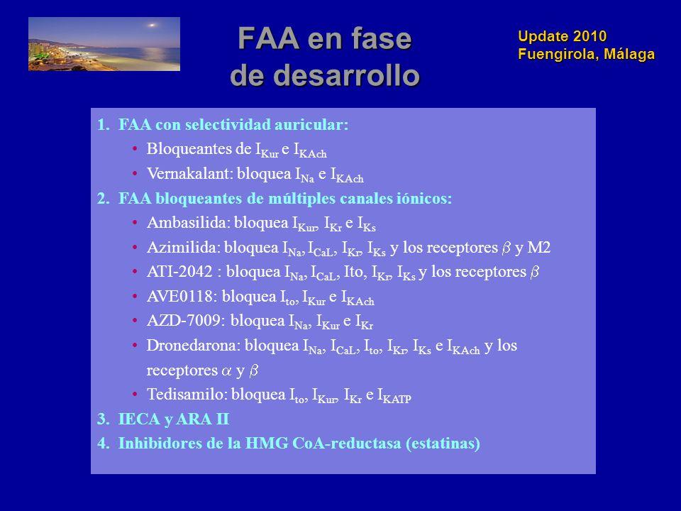Update 2010 Fuengirola, Málaga FAA en fase de desarrollo 1.FAA con selectividad auricular: Bloqueantes de I Kur e I KAch Vernakalant: bloquea I Na e I KAch 2.FAA bloqueantes de múltiples canales iónicos: Ambasilida: bloquea I Kur, I Kr e I Ks Azimilida: bloquea I Na, I CaL, I Kr, I Ks y los receptores y M2 ATI-2042 : bloquea I Na, I CaL, Ito, I Kr, I Ks y los receptores AVE0118: bloquea I to, I Kur e I KAch AZD-7009: bloquea I Na, I Kur e I Kr Dronedarona: bloquea I Na, I CaL, I to, I Kr, I Ks e I KAch y los receptores y Tedisamilo: bloquea I to, I Kur, I Kr e I KATP 3.IECA y ARA II 4.