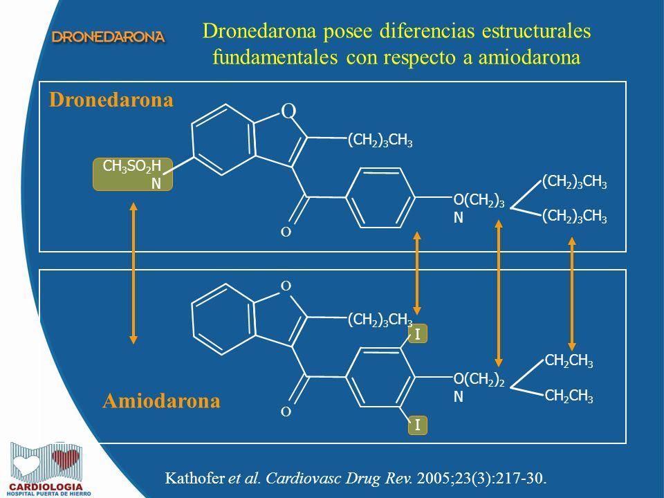 Dronedarona posee diferencias estructurales fundamentales con respecto a amiodarona Kathofer et al. Cardiovasc Drug Rev. 2005;23(3):217-30. Dronedaron
