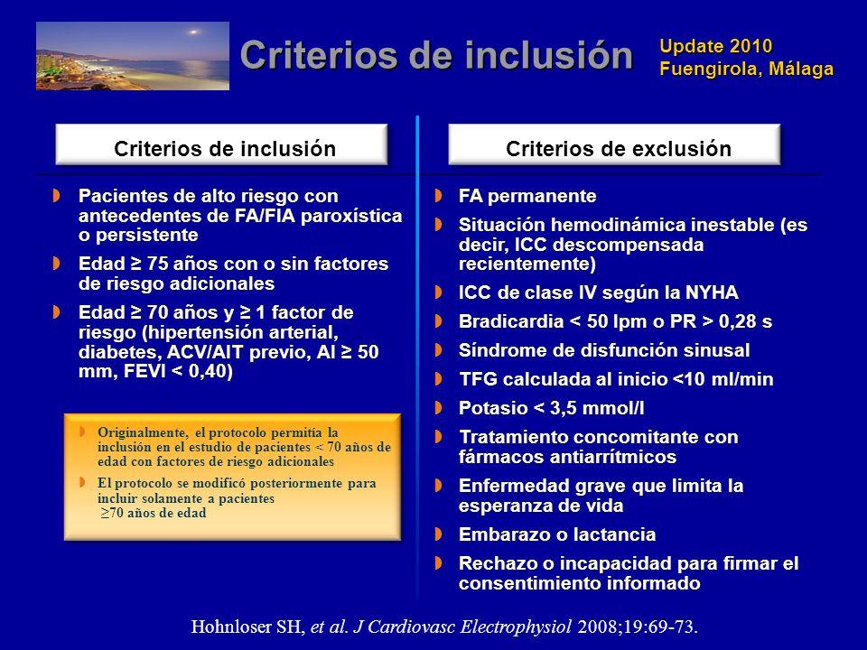 Update 2010 Fuengirola, Málaga Criterios de inclusión Hohnloser SH, et al. J Cardiovasc Electrophysiol 2008;19:69-73. Criterios de inclusiónCriterios