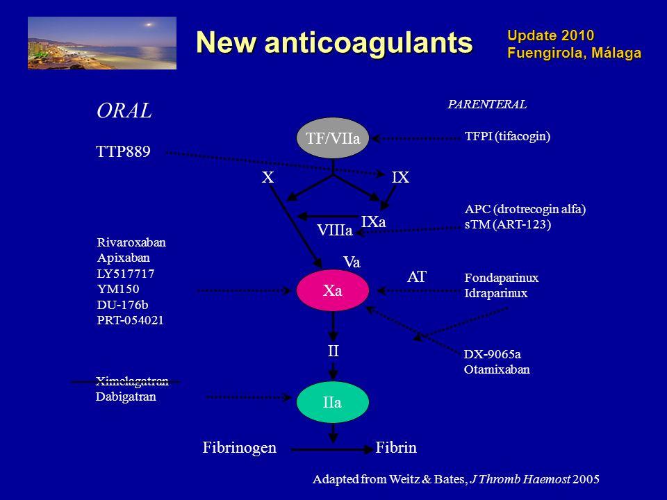 Update 2010 Fuengirola, Málaga New anticoagulants TFPI (tifacogin) Fondaparinux Idraparinux Rivaroxaban Apixaban LY517717 YM150 DU-176b PRT-054021 Ximelagatran Dabigatran ORAL PARENTERAL DX-9065a Otamixaban Xa IIa TF/VIIa XIX IXa VIIIa Va II FibrinFibrinogen AT APC (drotrecogin alfa) sTM (ART-123) Adapted from Weitz & Bates, J Thromb Haemost 2005 TTP889