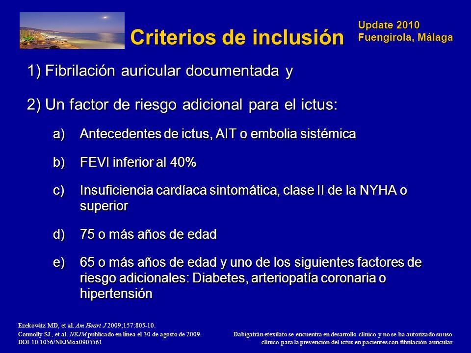 Update 2010 Fuengirola, Málaga Criterios de inclusión 1) Fibrilación auricular documentada y 2) Un factor de riesgo adicional para el ictus: a)Anteced