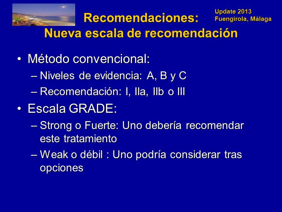 Update 2013 Fuengirola, Málaga Recomendaciones: Nueva escala de recomendación Método convencional:Método convencional: –Niveles de evidencia: A, B y C