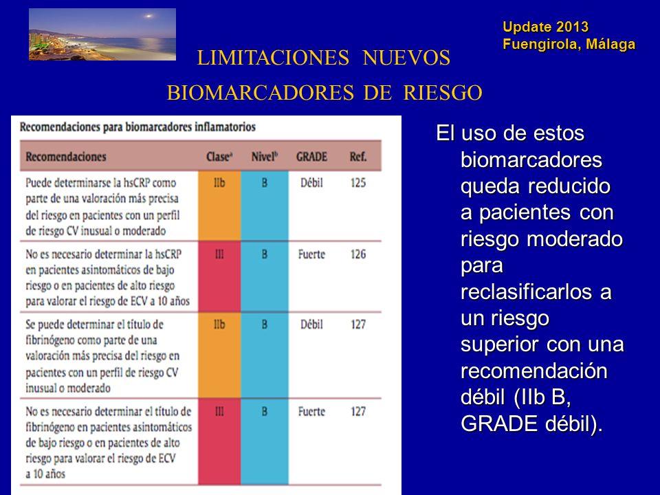 Update 2013 Fuengirola, Málaga LIMITACIONES NUEVOS BIOMARCADORES DE RIESGO El uso de estos biomarcadores queda reducido a pacientes con riesgo moderad