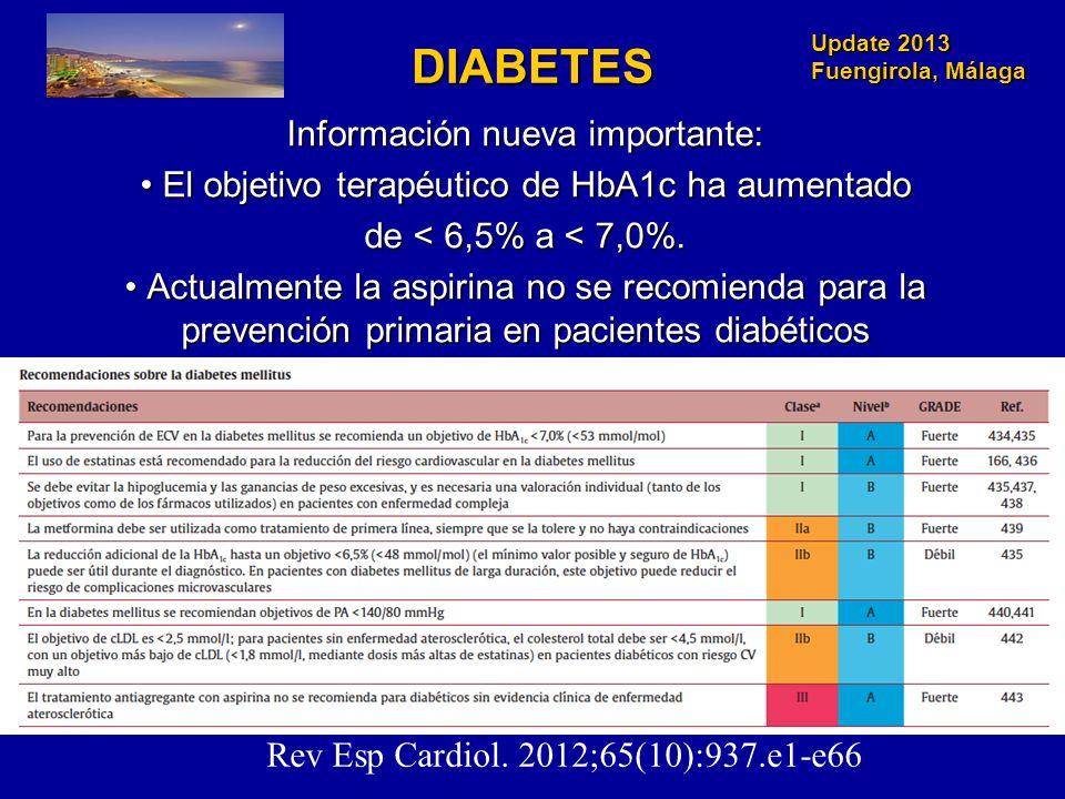 Update 2013 Fuengirola, Málaga DIABETES Información nueva importante: El objetivo terapéutico de HbA1c ha aumentado El objetivo terapéutico de HbA1c h