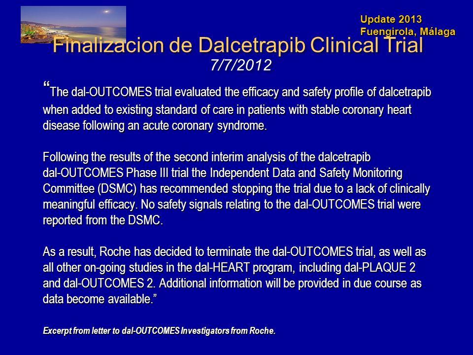 Update 2013 Fuengirola, Málaga Que esperamos… The ODYSSEY Outcomes incluira 18000 pacientes con un SCA y LDL fuera de objetivos valorara la eficacia de SAR236553/REGN727 (inyeccion SC de 75 mg SC cada 2 semanas) añadido a dosis maximas de estatinas y evaluara reducción de eventos CV.5 años de seguimiento.