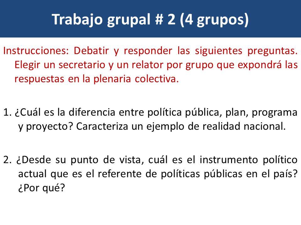 Trabajo grupal # 2 (4 grupos) Instrucciones: Debatir y responder las siguientes preguntas. Elegir un secretario y un relator por grupo que expondrá la