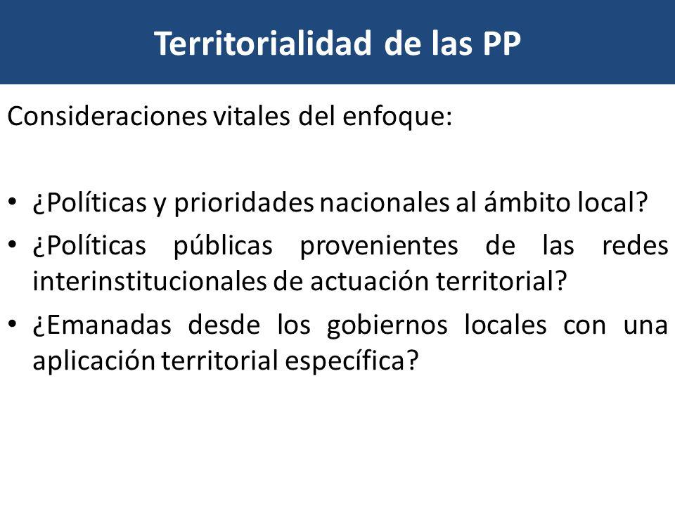 Territorialidad de las PP Consideraciones vitales del enfoque: ¿Políticas y prioridades nacionales al ámbito local? ¿Políticas públicas provenientes d