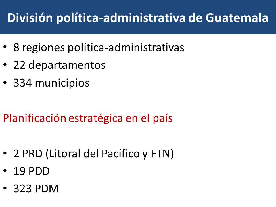 División política-administrativa de Guatemala 8 regiones política-administrativas 22 departamentos 334 municipios Planificación estratégica en el país