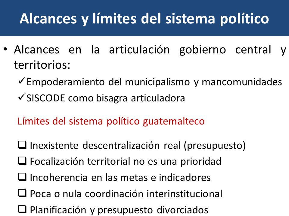 Alcances y límites del sistema político Alcances en la articulación gobierno central y territorios: Empoderamiento del municipalismo y mancomunidades