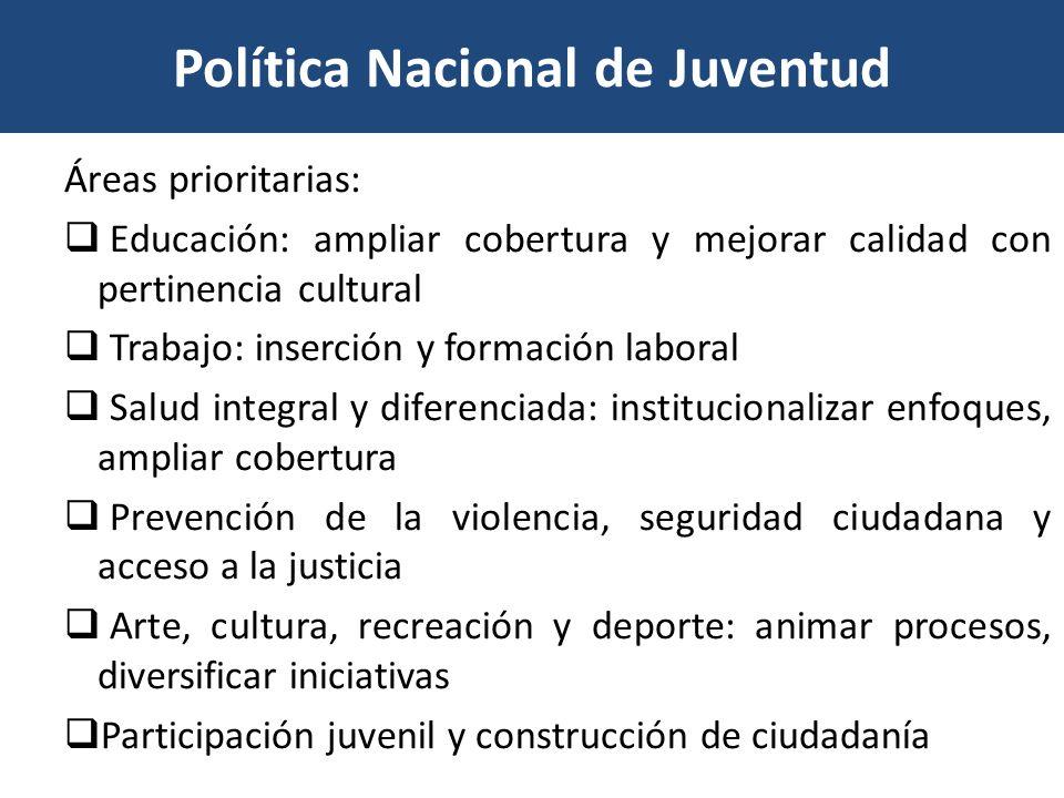 Política Nacional de Juventud Áreas prioritarias: Educación: ampliar cobertura y mejorar calidad con pertinencia cultural Trabajo: inserción y formaci