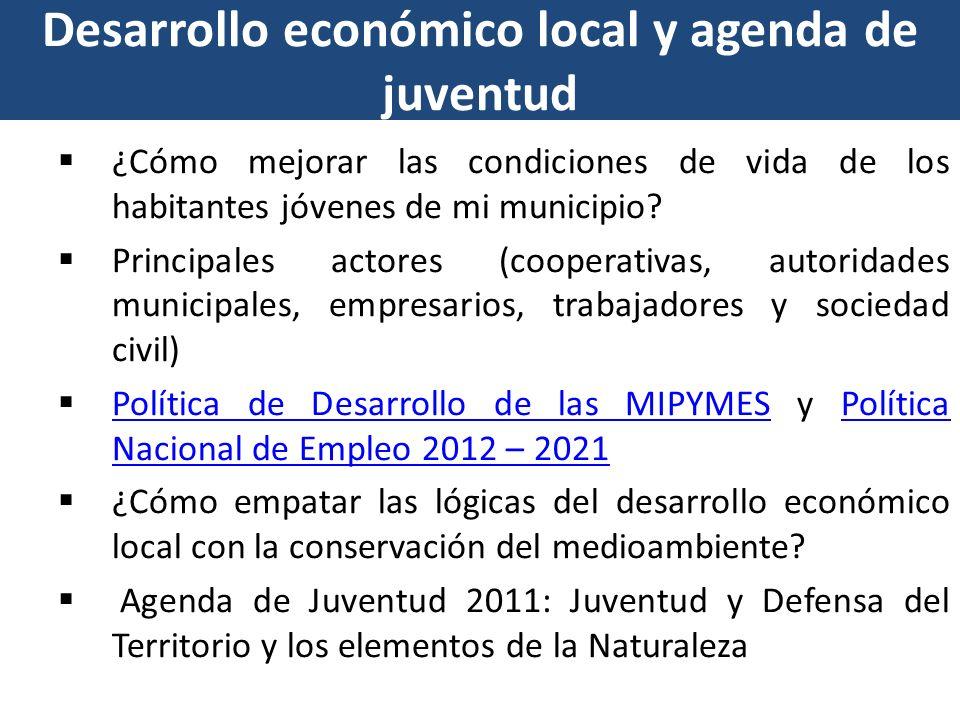 Desarrollo económico local y agenda de juventud ¿Cómo mejorar las condiciones de vida de los habitantes jóvenes de mi municipio? Principales actores (