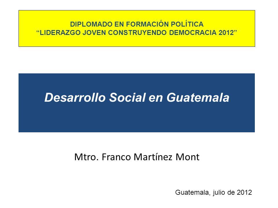 Desarrollo Social en Guatemala Mtro. Franco Martínez Mont Guatemala, julio de 2012 DIPLOMADO EN FORMACIÓN POLÍTICA LIDERAZGO JOVEN CONSTRUYENDO DEMOCR