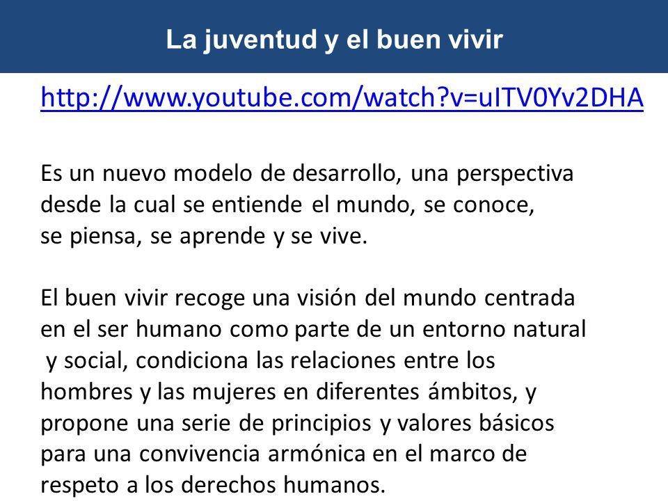 La juventud y el buen vivir http://www.youtube.com/watch?v=uITV0Yv2DHA Es un nuevo modelo de desarrollo, una perspectiva desde la cual se entiende el