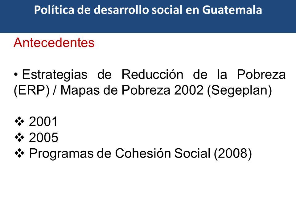 Antecedentes Estrategias de Reducción de la Pobreza (ERP) / Mapas de Pobreza 2002 (Segeplan) 2001 2005 Programas de Cohesión Social (2008) Política de