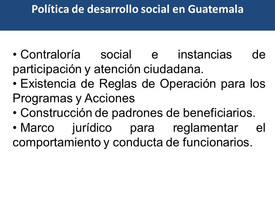 Contraloría social e instancias de participación y atención ciudadana. Existencia de Reglas de Operación para los Programas y Acciones Construcción de