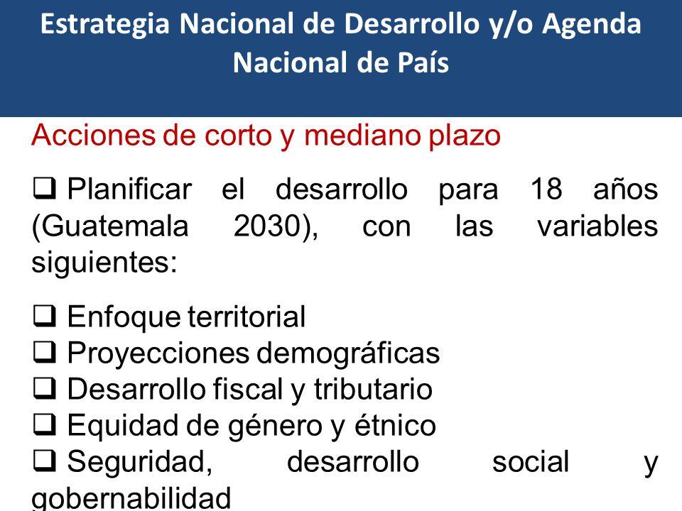 Características clave Acciones de corto y mediano plazo Planificar el desarrollo para 18 años (Guatemala 2030), con las variables siguientes: Enfoque