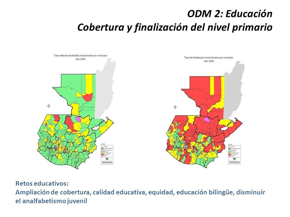 ODM 2: Educación Cobertura y finalización del nivel primario Retos educativos: Ampliación de cobertura, calidad educativa, equidad, educación bilingüe