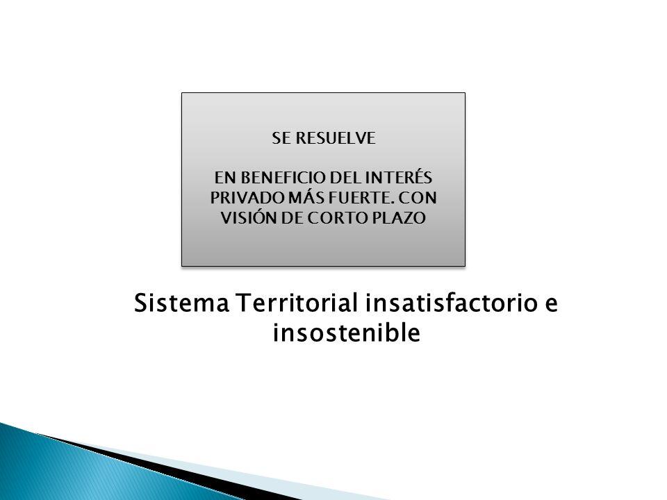 Sistema Territorial insatisfactorio e insostenible SE RESUELVE EN BENEFICIO DEL INTERÉS PRIVADO MÁS FUERTE. CON VISIÓN DE CORTO PLAZO SE RESUELVE EN B