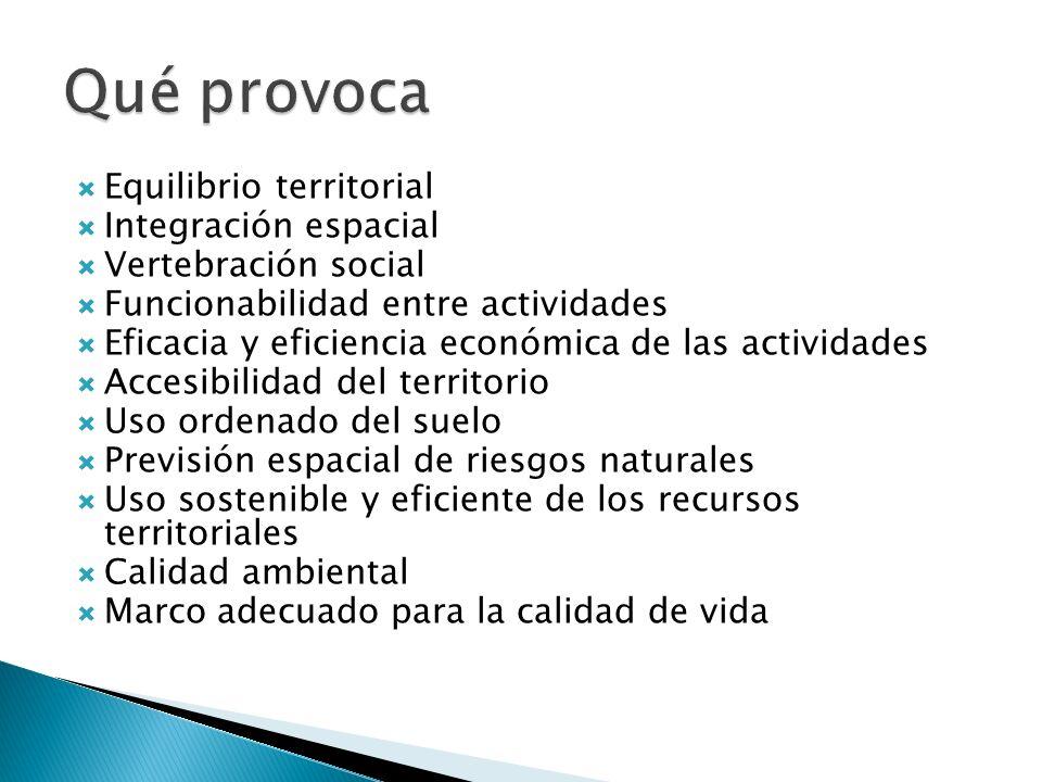 Equilibrio territorial Integración espacial Vertebración social Funcionabilidad entre actividades Eficacia y eficiencia económica de las actividades A