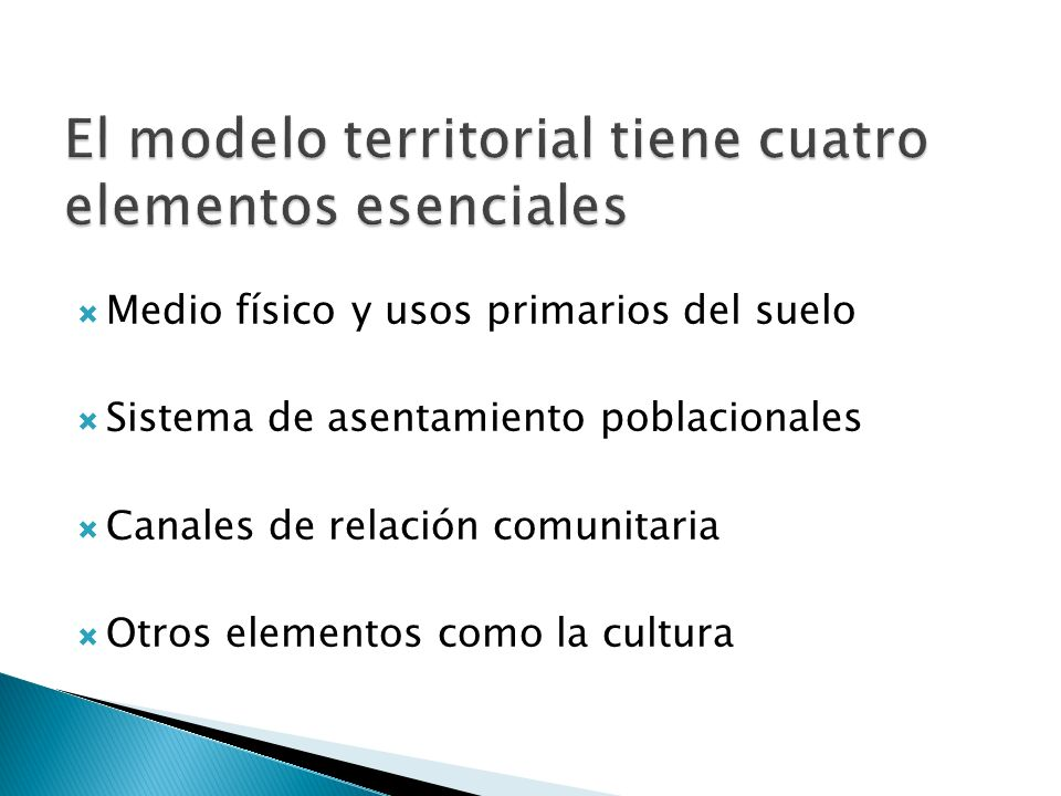 Medio físico y usos primarios del suelo Sistema de asentamiento poblacionales Canales de relación comunitaria Otros elementos como la cultura