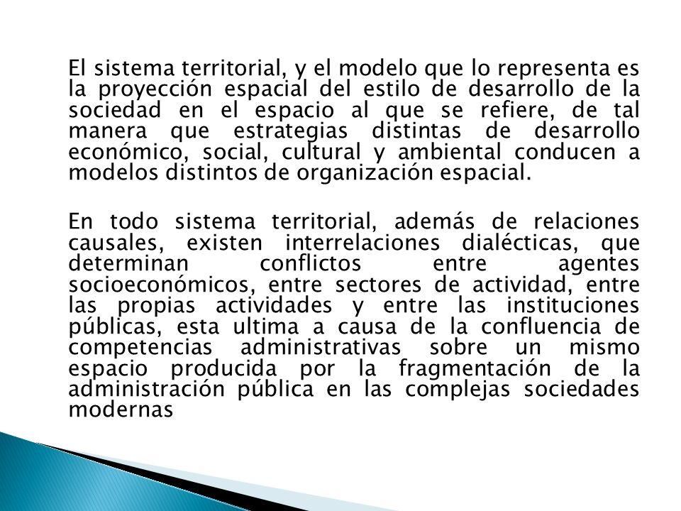 El sistema territorial, y el modelo que lo representa es la proyección espacial del estilo de desarrollo de la sociedad en el espacio al que se refier