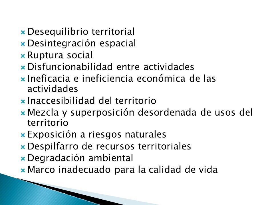 Desequilibrio territorial Desintegración espacial Ruptura social Disfuncionabilidad entre actividades Ineficacia e ineficiencia económica de las activ