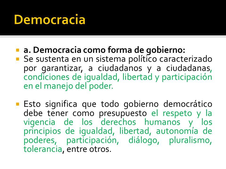 a. Democracia como forma de gobierno: Se sustenta en un sistema político caracterizado por garantizar, a ciudadanos y a ciudadanas, condiciones de igu