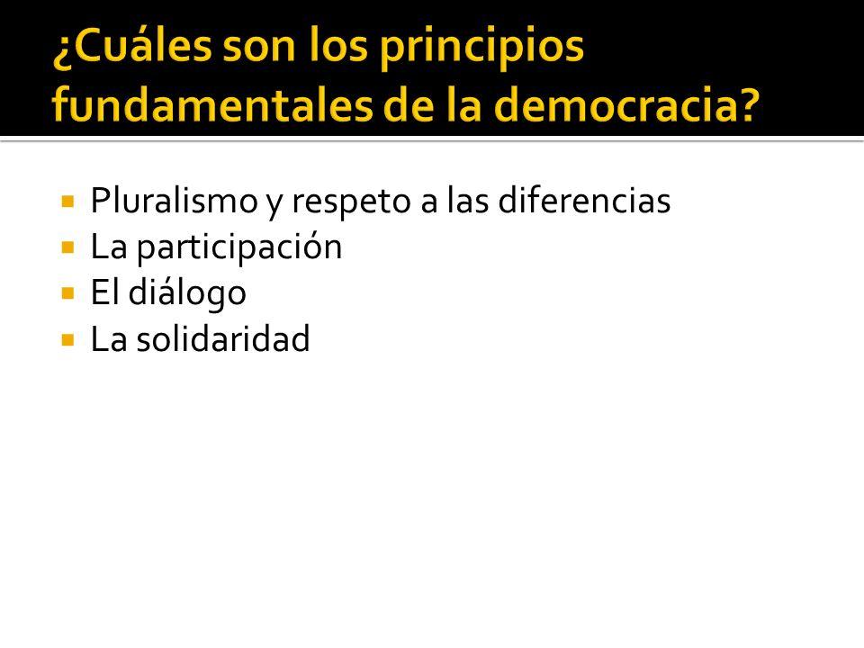 Pluralismo y respeto a las diferencias La participación El diálogo La solidaridad