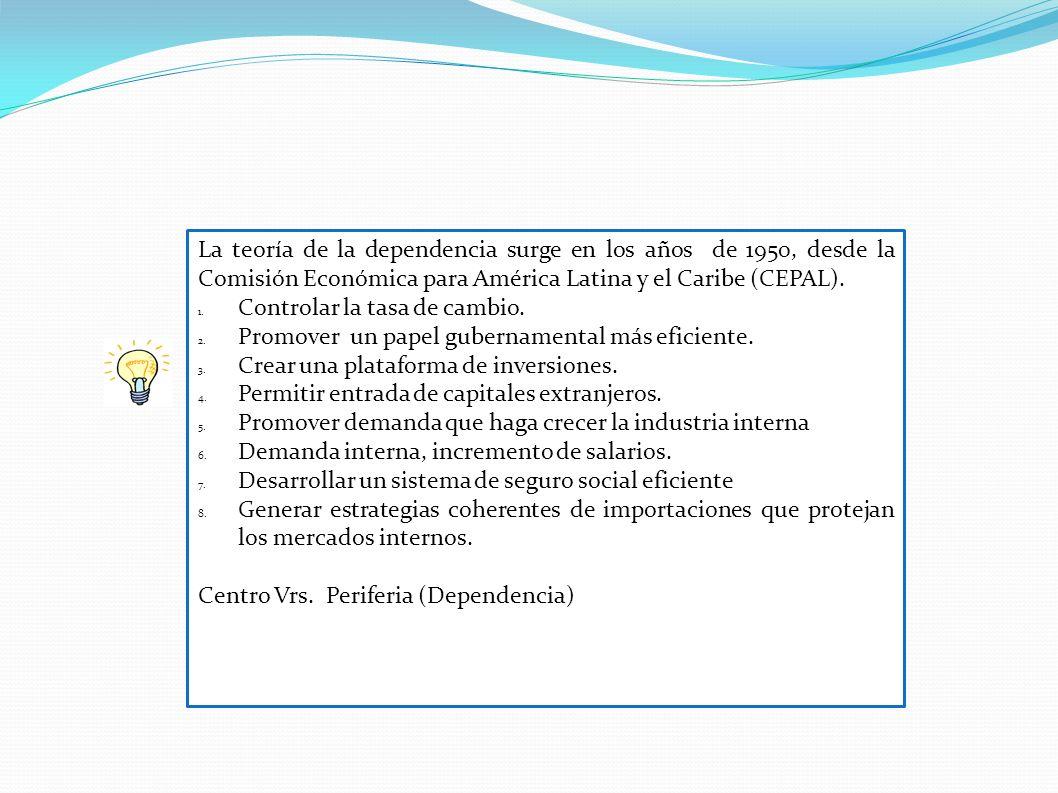 La teoría de la dependencia surge en los años de 1950, desde la Comisión Económica para América Latina y el Caribe (CEPAL). 1. Controlar la tasa de ca