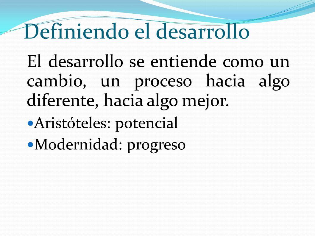 Definiendo el desarrollo El desarrollo se entiende como un cambio, un proceso hacia algo diferente, hacia algo mejor. Aristóteles: potencial Modernida