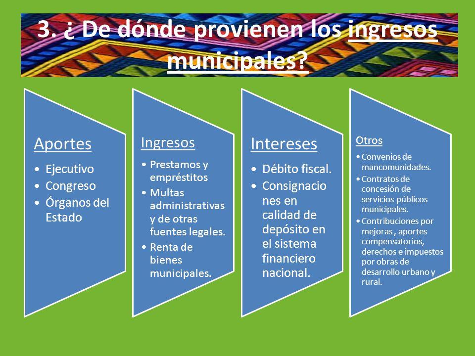 3. ¿ De dónde provienen los ingresos municipales? Aportes Ejecutivo Congreso Órganos del Estado Ingresos Prestamos y empréstitos Multas administrativa