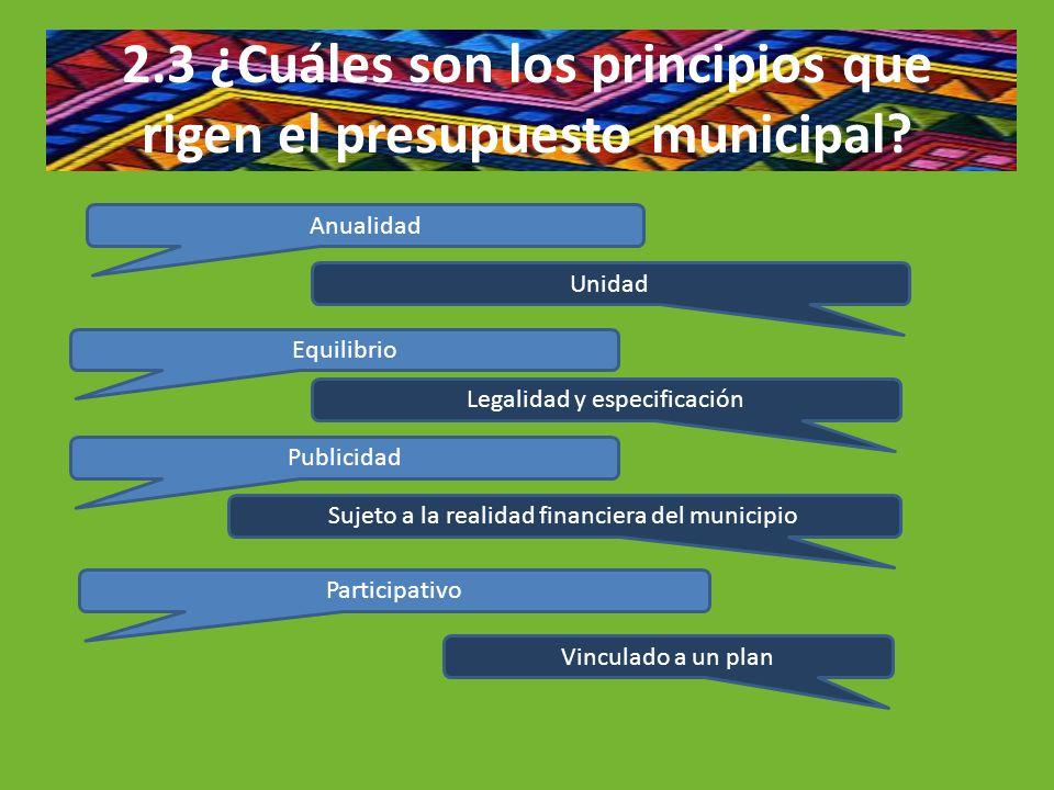 2.3 ¿Cuáles son los principios que rigen el presupuesto municipal? Anualidad Unidad Equilibrio Publicidad Participativo Legalidad y especificación Vin