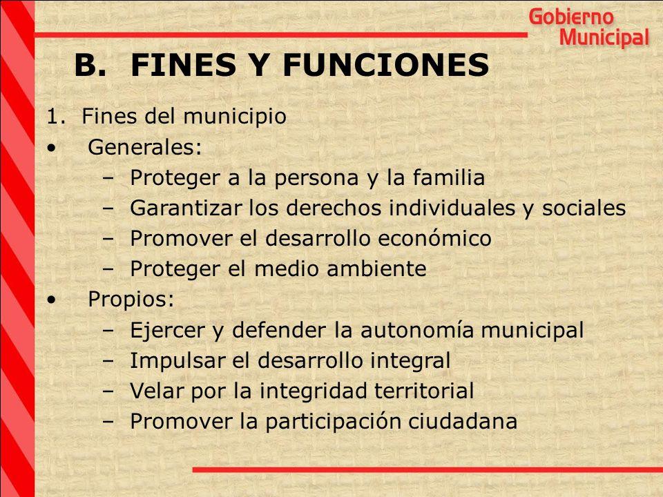B. FINES Y FUNCIONES 1. Fines del municipio Generales: – Proteger a la persona y la familia – Garantizar los derechos individuales y sociales – Promov