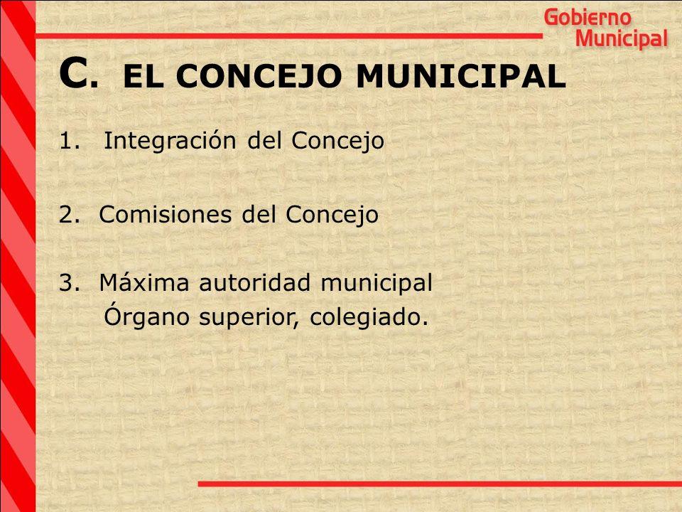 C. EL CONCEJO MUNICIPAL 1.Integración del Concejo 2. Comisiones del Concejo 3. Máxima autoridad municipal Órgano superior, colegiado.