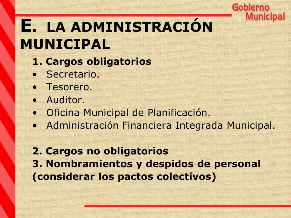 1. Cargos obligatorios Secretario. Tesorero. Auditor. Oficina Municipal de Planificación. Administración Financiera Integrada Municipal. 2. Cargos no