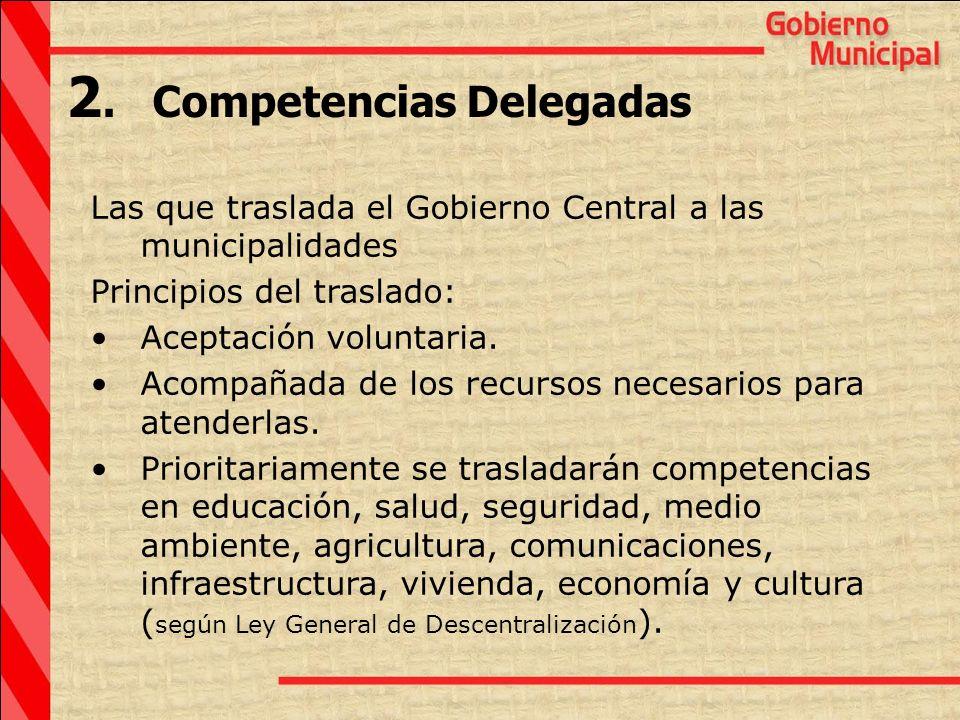 Las que traslada el Gobierno Central a las municipalidades Principios del traslado: Aceptación voluntaria. Acompañada de los recursos necesarios para