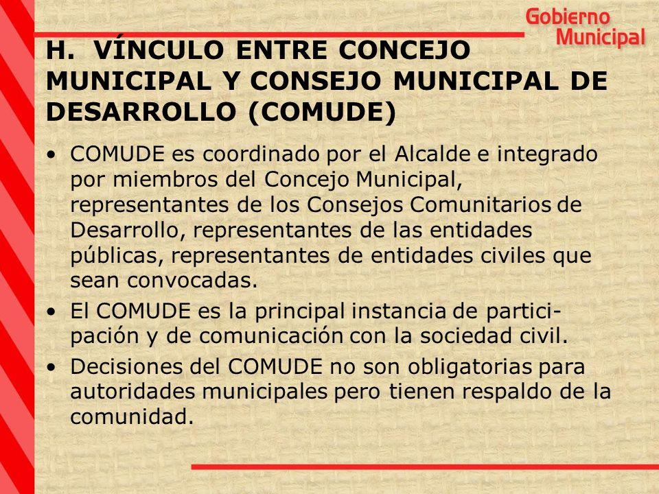 COMUDE es coordinado por el Alcalde e integrado por miembros del Concejo Municipal, representantes de los Consejos Comunitarios de Desarrollo, represe