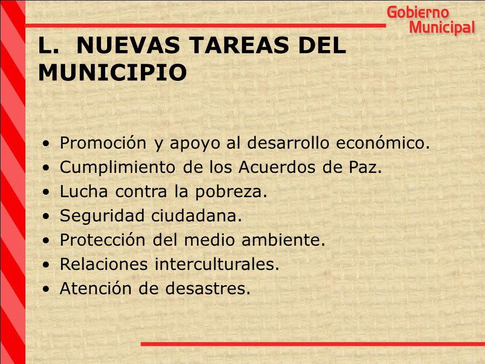 L. NUEVAS TAREAS DEL MUNICIPIO Promoción y apoyo al desarrollo económico. Cumplimiento de los Acuerdos de Paz. Lucha contra la pobreza. Seguridad ciud
