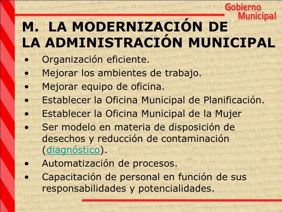 M. LA MODERNIZACIÓN DE LA ADMINISTRACIÓN MUNICIPAL Organización eficiente. Mejorar los ambientes de trabajo. Mejorar equipo de oficina. Establecer la