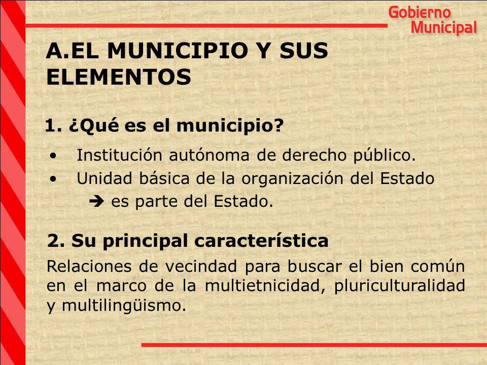 A.EL MUNICIPIO Y SUS ELEMENTOS Institución autónoma de derecho público. Unidad básica de la organización del Estado es parte del Estado. 1. ¿Qué es el
