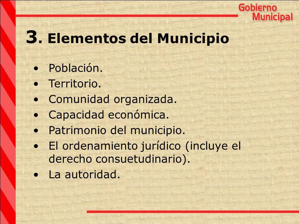 3. Elementos del Municipio Población. Territorio. Comunidad organizada. Capacidad económica. Patrimonio del municipio. El ordenamiento jurídico (inclu
