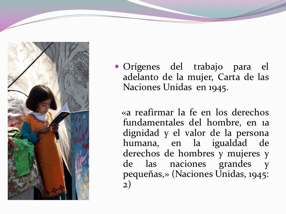 Orígenes del trabajo para el adelanto de la mujer, Carta de las Naciones Unidas en 1945. «a reafirmar la fe en los derechos fundamentales del hombre,