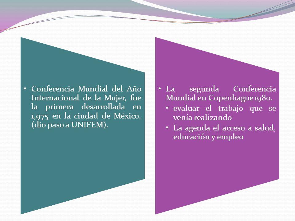 Conferencia Mundial del Año Internacional de la Mujer, fue la primera desarrollada en 1,975 en la ciudad de México. (dio paso a UNIFEM). La segunda Co